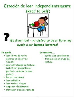 I Can/Yo Puedo Mini Literacy Station Posters - Spanish. Daily 5.