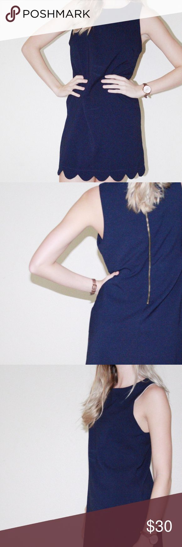 Navy mini dress Navy mini petal dress with a zip up back from Francesca's in size medium. 95% Polyester and 5% spandex style #57000 RN#146051. Fitted dress worn once and material is in brand new condition. Francesca's Collections Dresses Mini