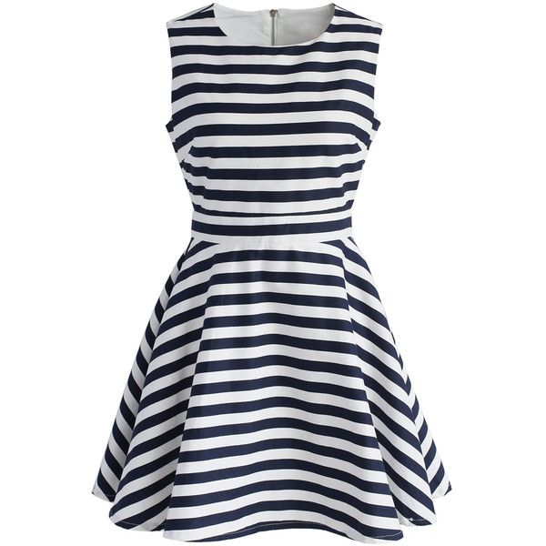 Chicwish Navy Stripe Obsession Sleeveless Dress ($47) ❤ liked on Polyvore featuring dresses, white, navy white dress, navy striped dress, no sleeve dress, white day dress and navy blue dress