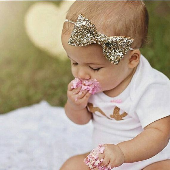 Glittery Bow Headband , Gold Headband, Birthday, cake smash, 1st birthday, baby girl birthday, birthday, bride, wedding, Bachelorette