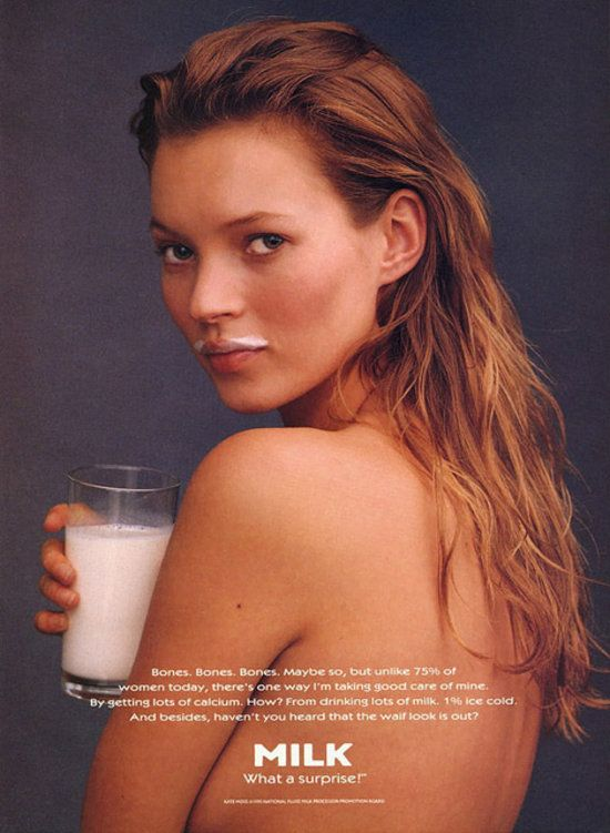 Kate Moss... in nothing but a milk mustache