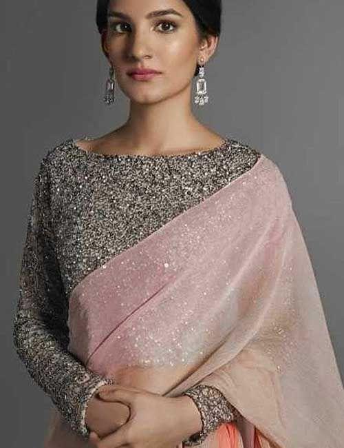 74d2c92a56 20 Latest Plain Saree With Designer Blouse Ideas in 2019 | Saree ...
