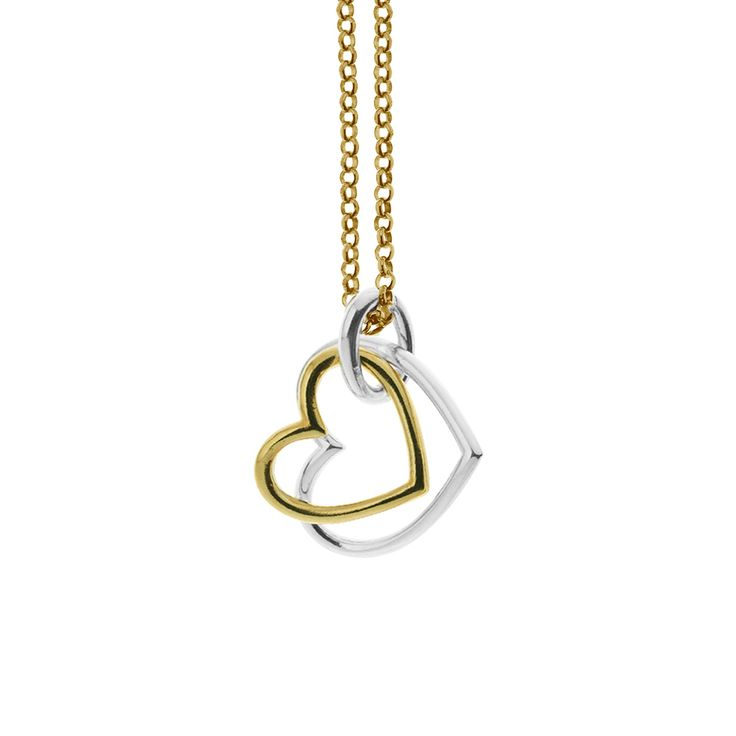 Gold plated sterling silver double heart pendant for necklace from By Malene Meden at Svane & Lührs - here with gold plated sterling silver necklace. We tailor-make your length. Worldwide shipping € 5: www.svane-luhrs.com.
