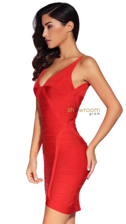 Aubrey Red Bandage Dress - Showroom Glam  - 3