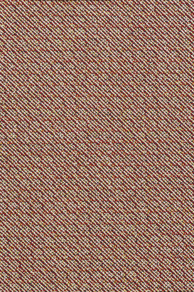 Kvadrat/Raf Simons – Noise. With a rich, uneven texture inspired by high fashion bouclé textiles, Noise is a striking wool blend in which the strong diagonal stripe of the twill is broken up by flecks of sharp or neutral colour