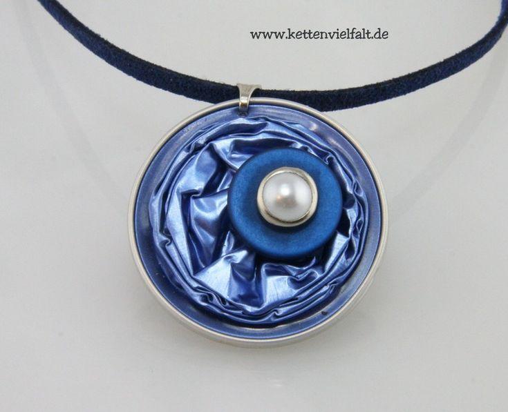 #850 Upcycling Kette blau NESPRESSO® Kaffeekapseln von KettenVielfalt auf DaWanda.com
