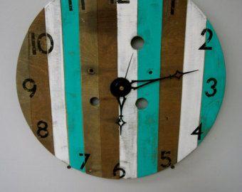 Rustic Spool Top Clock, Unique Rustic Clock, Teal White and Brown Clock, Rustic Numbered Clock, Homemade Rustic Clock, Spool Top Clock