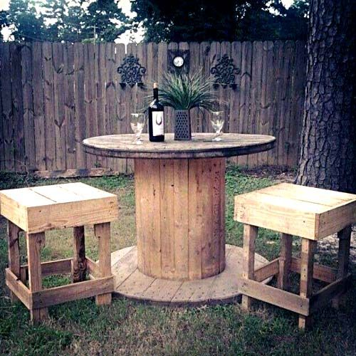wooden cable spool table wooden with garden wooden chairs repurposed diy backyard amazing creative ideas