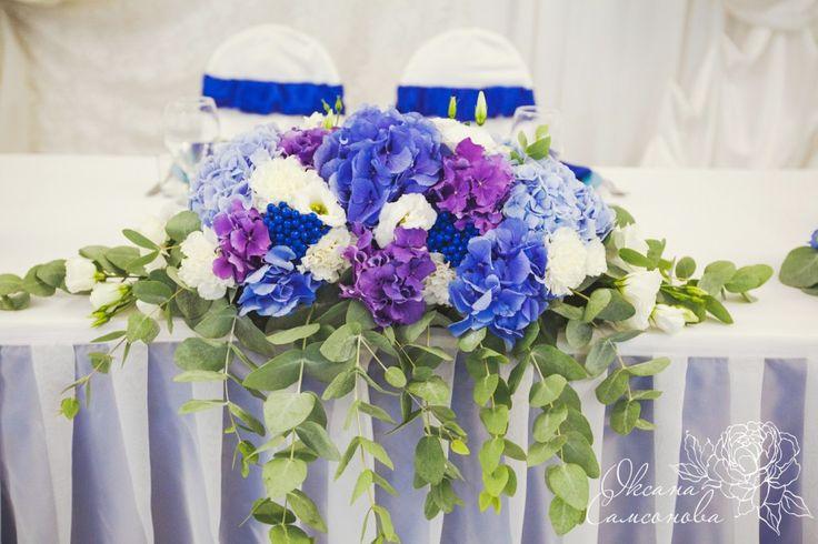 Свадьба в синем голубом фиолетовом цвете Композиция на стол жениха и невесты Гортензия эвкалипт