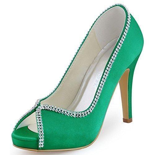 Oferta: 52.99€ Dto: -12%. Comprar Ofertas de ElegantPark EP11083-IP Mujer Peep Toe Plataforma Tacón Alto Rhinestones Cadenas Zapatillas Satén Zapatos de Vestir Verde EU 3 barato. ¡Mira las ofertas!