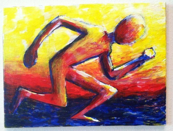 """SPRINTER""  11"" x 14"" acrylic on canvas ,  original art by jack larson #Abstract"