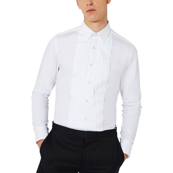 Men's Charlie Casely-Hayford X Topman Skinny Fit Evening Shirt ($75) ❤ liked on Polyvore featuring men's fashion, men's clothing, men's shirts, men's dress shirts, white, mens white shirts, mens holiday shirts, mens cotton shirts, mens formal shirts and mens cotton dress shirts