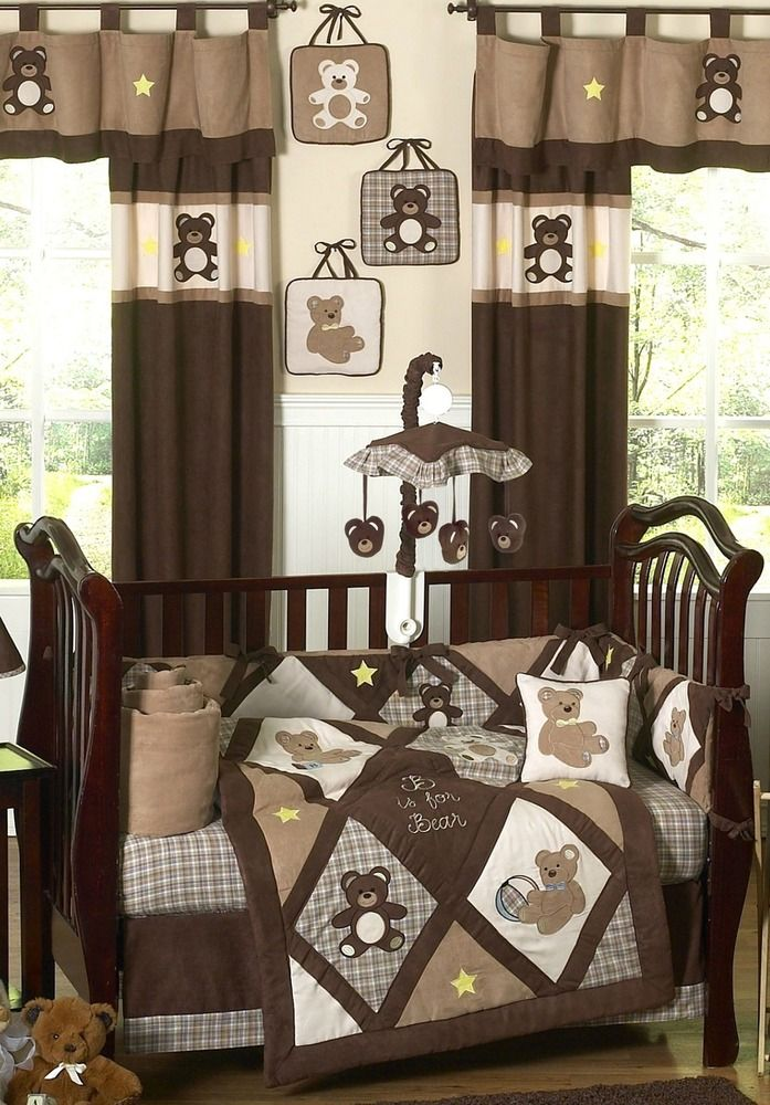 Chocolate Brown Teddy Bear Baby Boys Bedding 9pc Crib
