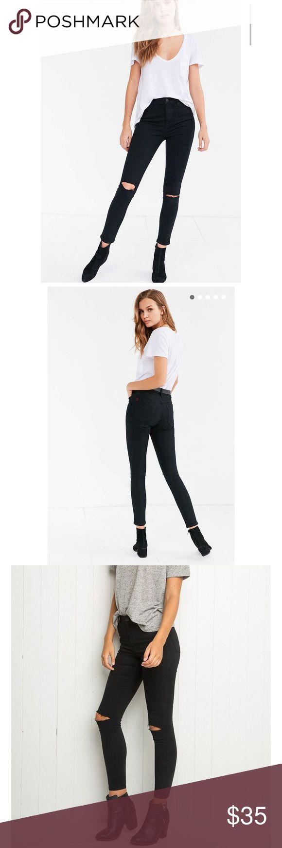 BDG Urban Outfitters Twig High Rise Black w/ Slit Never worn, new with tags. Inseam is 29 inches. Rise is 11 inches. Still for sale at Urban... get it here cheaper! True to size Urban Outfitters Jeans Skinny