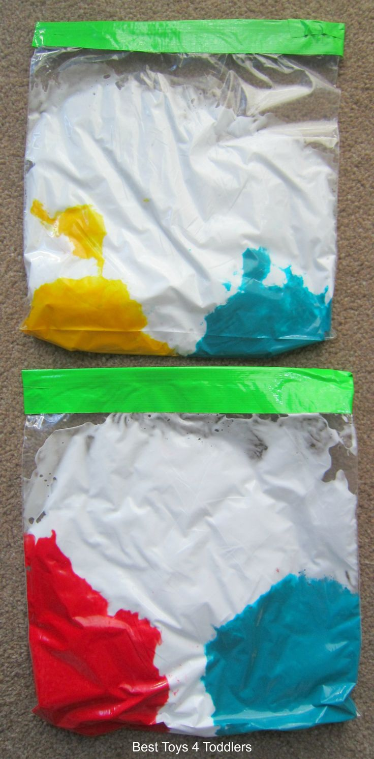 Child development lesson. Paint mixing sensory bags