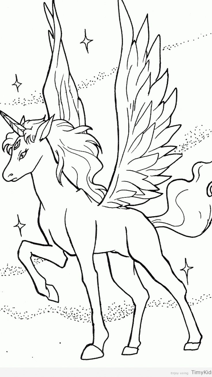 unicorn with wings coloring pages printable  malvorlage