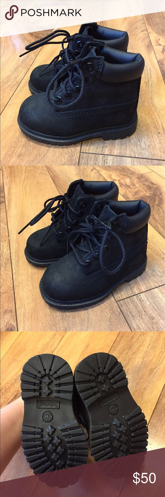 💕💕💕Timberland Black Boots Toddler Size 5 Guaranteed authentic. Used for an hour for my sons first birthday so these are practically new! Flaws include: none! Ask to bundle for a discount. No free ship!  *shoes do not come in original box, just priority box for shipping. Timberland Shoes Boots