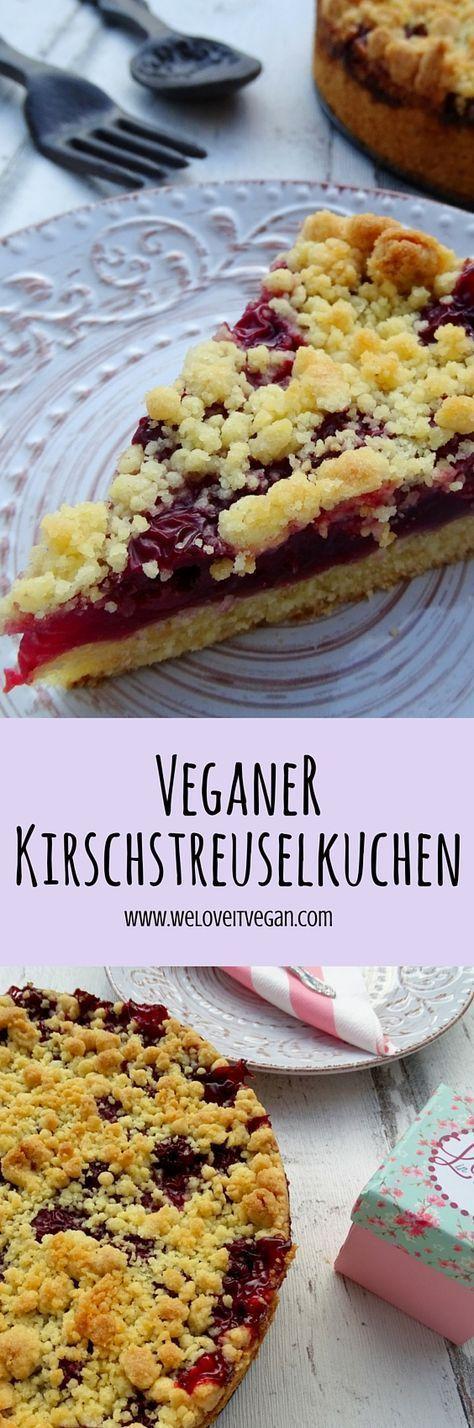 Leckerer pflegeleichter veganer Kirschstreuselkuchen