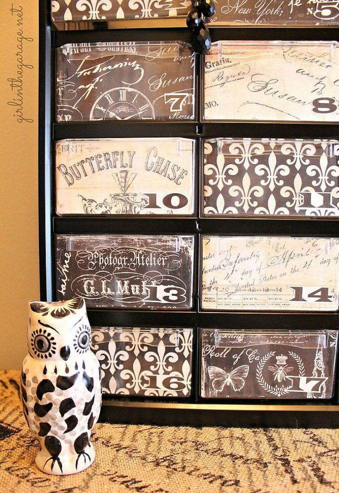 decoupage ideas for furniture. refurbished furniture diyfilthy to fancy organizer makeover plastic tool supply box decoupage ideas for