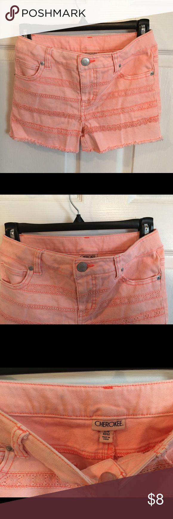 Cherokee Peach Jean Shorts Girls L 10/12 Great shape Peach color Size Large 10/12 Adjustable elastic Waistband Cherokee Bottoms Shorts