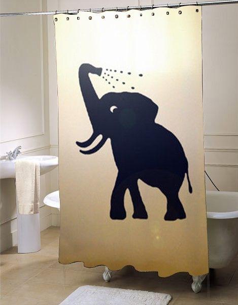 Bathing Baby Elephant Shower Curtain #showercurtain #showercurtains #curtains #bath #bathroom #homeandliving
