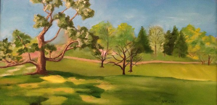 """""""View from a Picnic"""" Oil on Canvas - 24"""" x 12"""""""