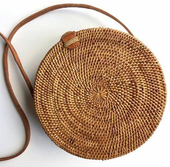 Runde Rattan-Korb-Tasche böhmische Runde gewebt A…