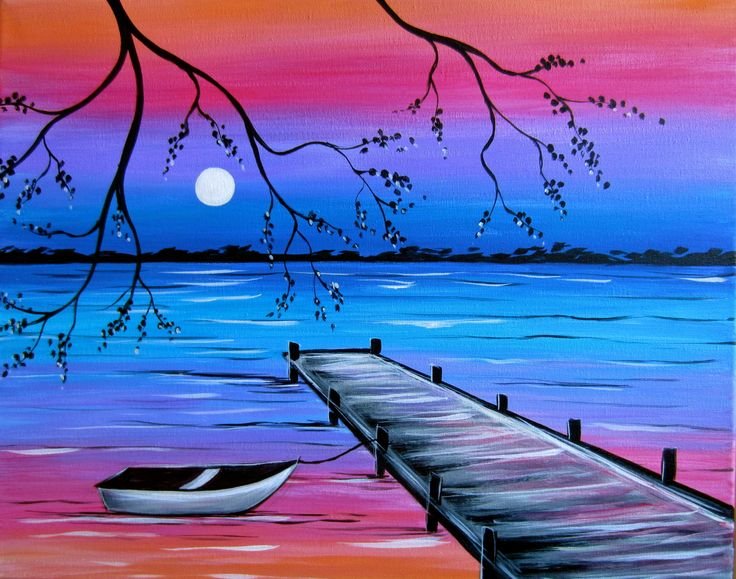 SOLD OUT -  Dock at Dusk - To dip in the water, row in the boat, or enjoy the setting sun on the dock?  Muse Paintbar Events - Monday, 06/29/15 - 6:30-8:45PM - West Hartford, CT;