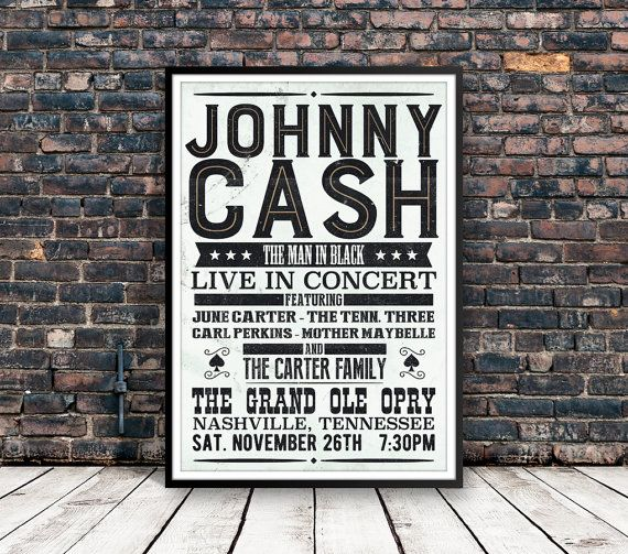 » This is a reproduction of a poster for The Johnny Cash Show at the Grand Ole Opry.  » This piece is printed on high quality Epson paper. **13x19 poster will be borderless **11x17 poster will have 1/4 margins  » Please check the estimated shipping time on our policies.  » Shipped securely in a flat box. Frame is NOT included. Thank you for stopping by