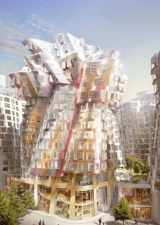 Foster and Gehry's Flower Building. Part of London's Battersea Power Station project