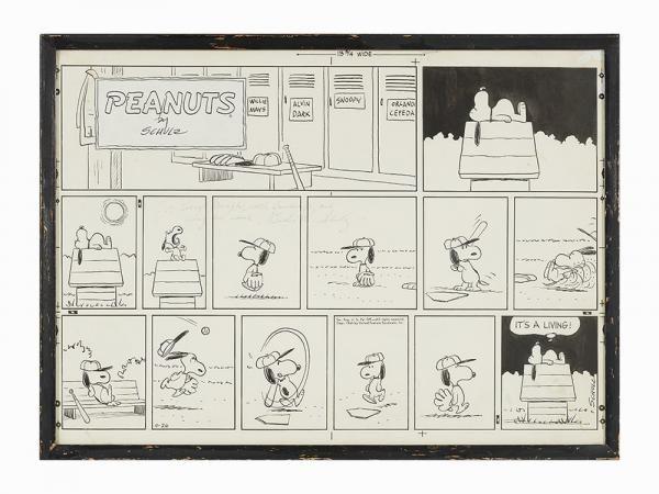 """Schulz, Original Peanuts Snoopy Baseball Strip, U.S.A., 1964, mis en vente lors de la vente """"Animation & Bande Dessinée"""" à Auctionata U.S.   Auction.fr"""