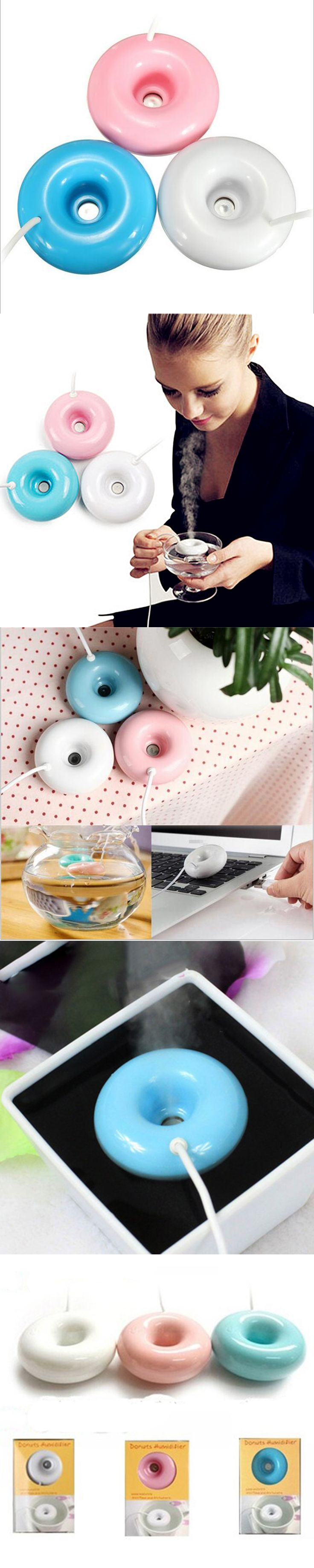 2017 Third Generation Donuts USB Mini Air Ultrasonic Humidifier Water Diffuser Mist Maker Fogger DC 5V Portable Air Purifier