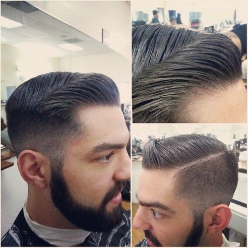 mens pompadour with razor part - Google Search
