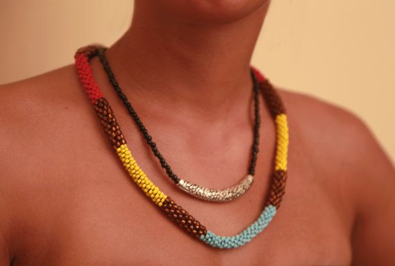 Colourful beaded 2 dimensional rope necklace