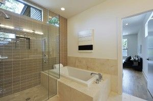modern green bathroom | marble | glass tile | central austin, tx | riverside homes for more homes like this visit http://www.turnerresidential.com/
