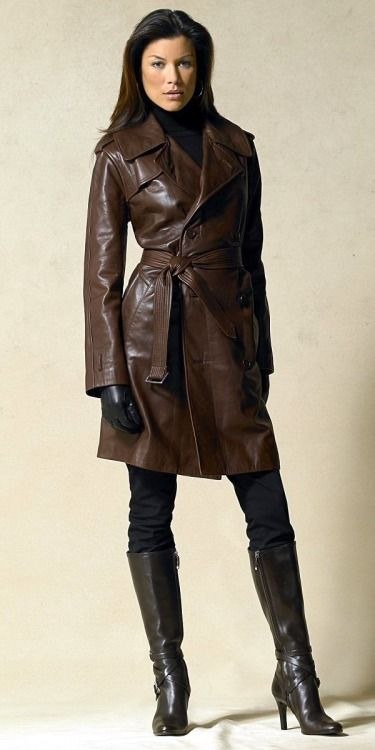 Luxurious Brown Leather Trench Looks Great With Black
