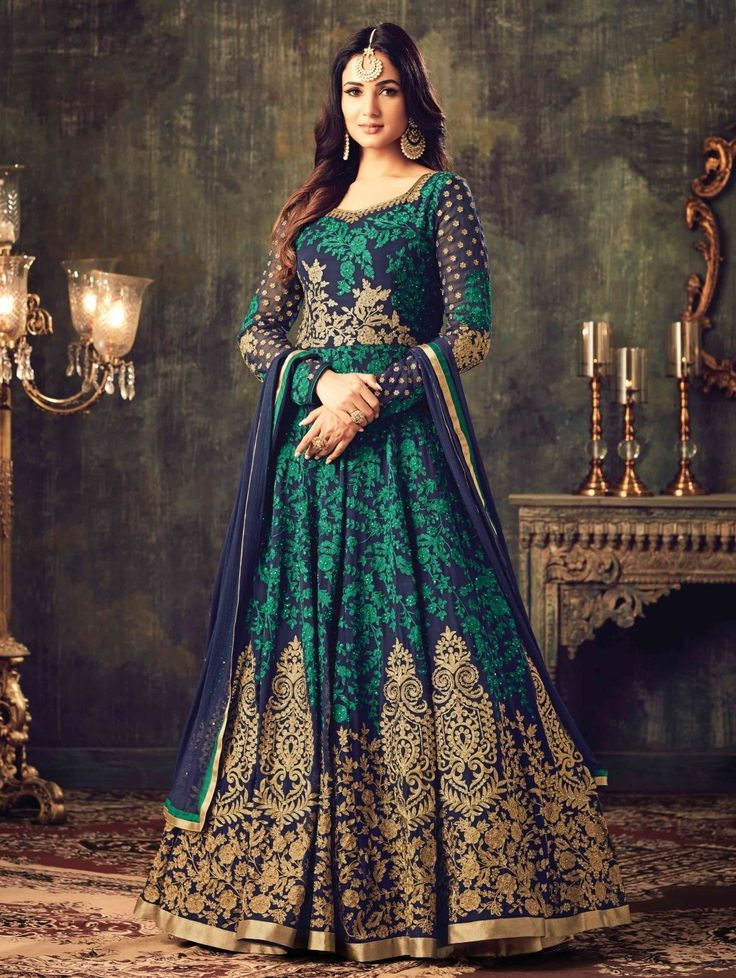 Blue Georgette Floor Length Anarkali Suit with Embroidery Work