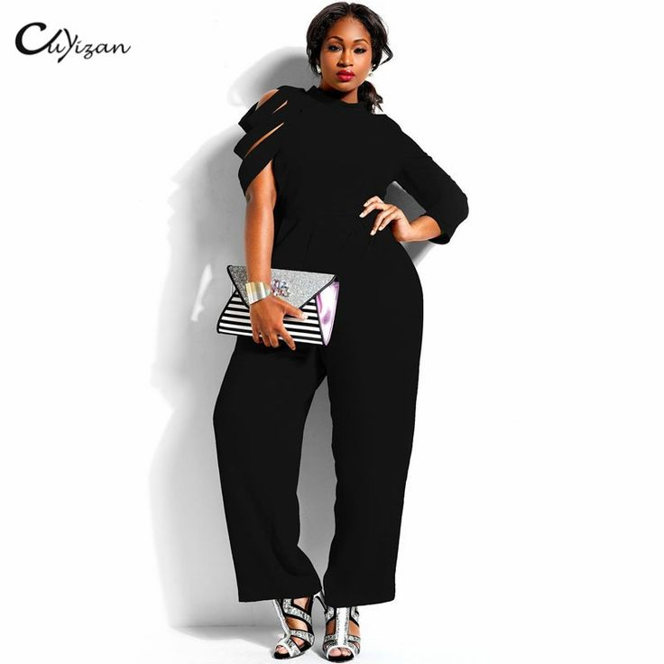 Cuyizan Sexy black women jumpsuit Casual Ladies elegant office clothing 4XL party overalls Fashion Full Figure Female rompers -in Jumpsuits from Women's Clothing & Accessories on Aliexpress.com | Alibaba Group