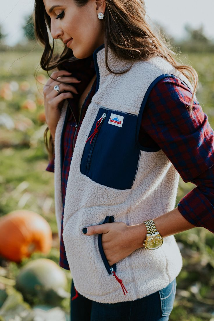 penfield lucan fleece vest, penfield at madewell, madewell plaid popover shirt, plaid shirt, pumpkin patch outfit, pumpkin picking outfit, cognac booties, fall brown booties, southern fashion blogger, fall style, fall fashion // grace wainwright a southern drawl
