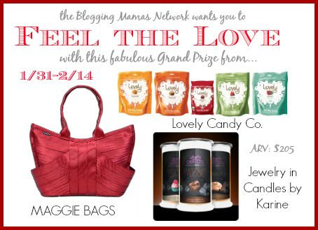 Feel the Love with Maggie Bags, Lovely Candy Co. and Jewelry in Candle by Karine!  Enter to win this LOVELY Grand Prize Package!  #BMNLove