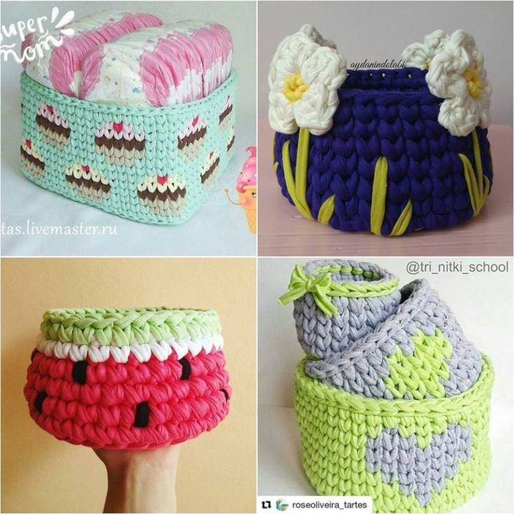 cesta de croche com fio de malha - DIY - artesanato - decoração - crochet and knit  basket