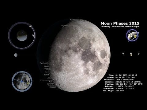 NASA | Moon Phases 2015, Northern Hemisphere - 2015 will be a spectacular year for viewing the Moon, as it rocks back-and-forth in its orbit, its phases waxing in illumination and then waning again. NASA's Goddard Space Flight Center has been putting visualizations of this spectacular phenomenon together since 2011, but this year they've given us something new....