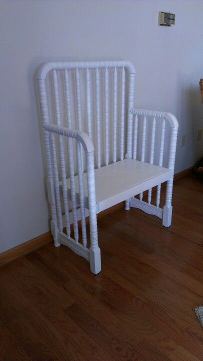 Bench made from baby bed