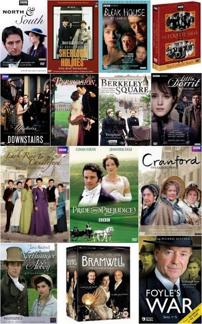PERIOD DRAMAS! my favorite (of these) are north and south, forsyte saga, lark rise to candleford, pride and prejudice, and northanger abbey