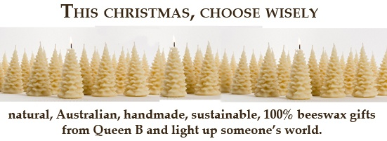 Queen B candles are individually made from 100% pure Australian beeswax and pure cotton wick. They are free from paraffin, soy, palm, fragrances and scents. Read more about why on the pages under the Why Beeswax menu in the top banner.    Treat yourself, your environment and the people you love with the natural honey aroma and pure golden light of pure Australian beeswax candles from Queen B.