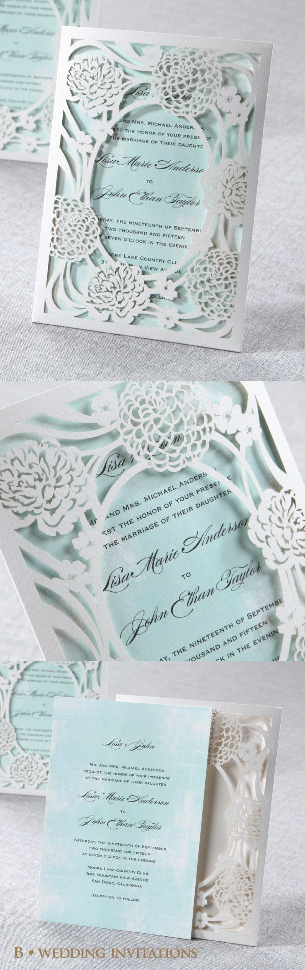 Rustic Garden Laser Cut Pocket Wedding Stationery