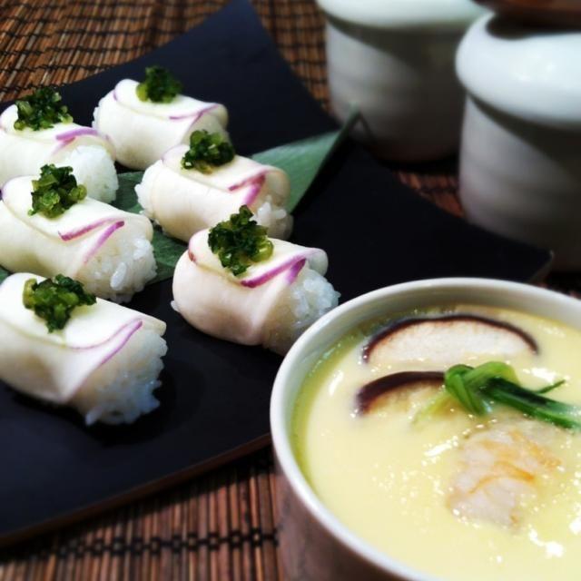あやめ雪かぶのお寿司と妙にどアップな茶碗蒸し by mikachi at 2013-10-29