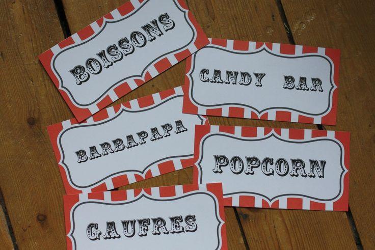 etiquettes buffet anniversaire fete foraine cirque