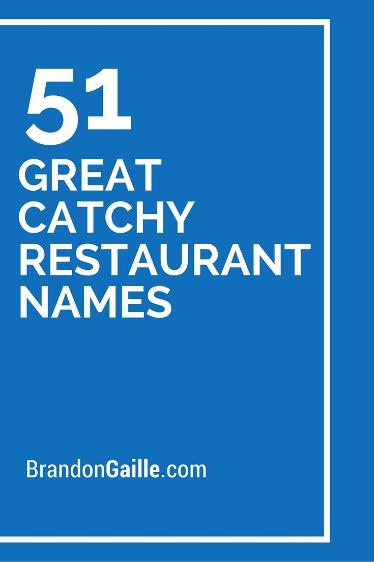 List of 51 Great Catchy Restaurant Names