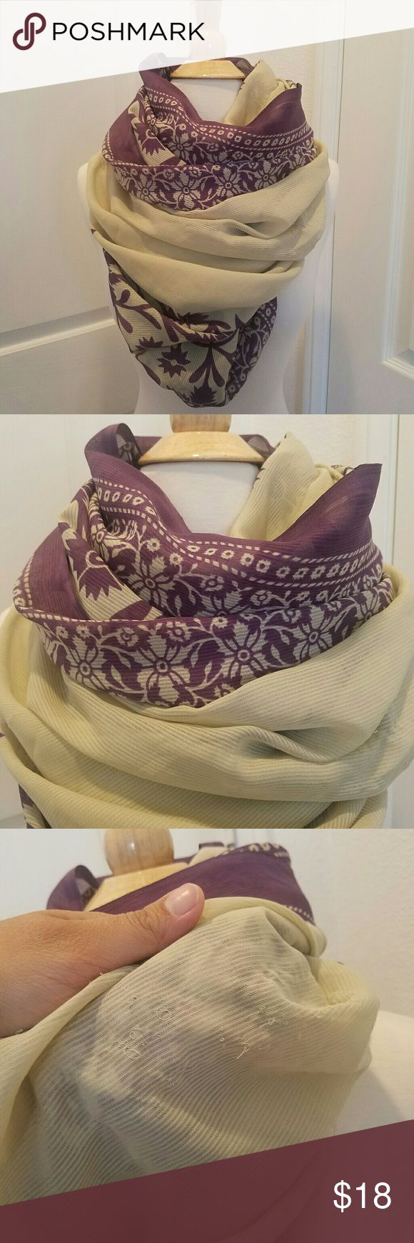 Vintage floral purple and beige scarf Thanks for checking out my closet. I am open to offers :) please let me know if you have questions. I'd be happy to help!  NOT FROM Free People. IT IS VINTAGE :)  Condition is good. It is vintage so it may not be perfect. If you are really interested I will closely look at the piece to check for any flaws. Free People Accessories Scarves & Wraps